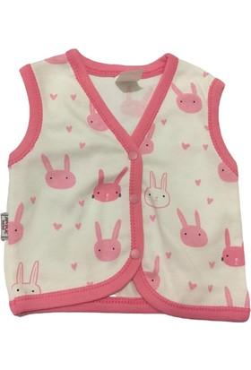 Akyüz Bebe Tavşan Kız Bebek Yelek - Pembe - 0-3 Ay