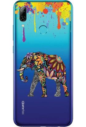 Bikapak Huawei P Smart 2019 Renkli Fil Desenli Arka Kapak