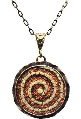 Antik Mozaik Karma Alev Kolye - Kuvars ve Akik Taşlardan El Yapımı Kolye