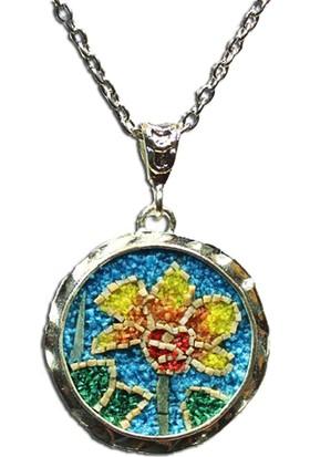Antik Mozaik Klytie ( Günebakan Çiçeği ) Kolye - Firuze , Mercan ve Malakit Taşlardan El Yapımı Kolye