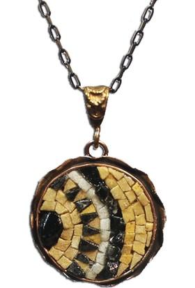 Antik Mozaik Ay Kolye - Akik ve Kuvars Taşlardan El Yapımı Kolye