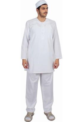Kanaviçe Hac Umre Kıyafeti Afgan Takım Beyaz