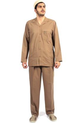Kanaviçe Hac Umre Kıyafeti Duble Cep Safari Takım Gabardin Kumaş Kahverengi