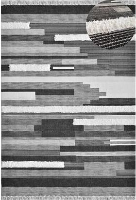 Halı Special Siyah Gri Yıkanabilir Modern Kilim 80 x 150 cm