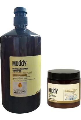 Muddy B-Tox Keratin Onarıcı Saç Şampuanı 1000 ml + B-Tox Keratin Onarıcı Saç Bakım Maskesi 500 ml
