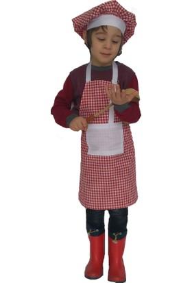 Mezuniyetshop Kırmızı Ekose Çocuk Mutfak Önlüğü Şapkalı