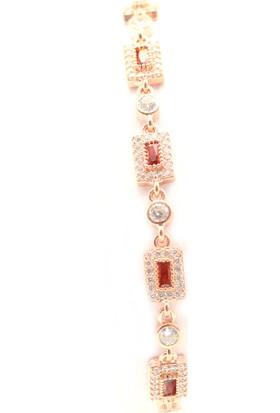 Soylu Kırmızı Zirkon Baget Taşlı Ithal Asansörlü Rose Bayan Gümüş Bileklik