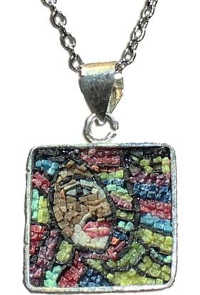 Antik Mozaik Picasso Olga Kolye - Karışık Doğal Taşlardan 925 Ayar Gümüş Kolye