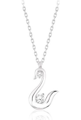 Swarovski Kadın Zirkon Taşlı Kuğu Gümüş Kolye