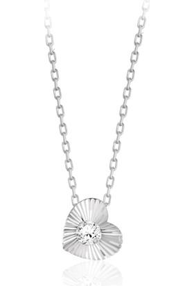 Swarovski Kadın Zirkon Taşlı Kalpli Gümüş Kolye