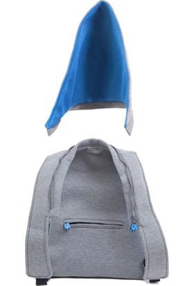 Morikukko Gri/mavi Kapüşonlu Sırt Çantası