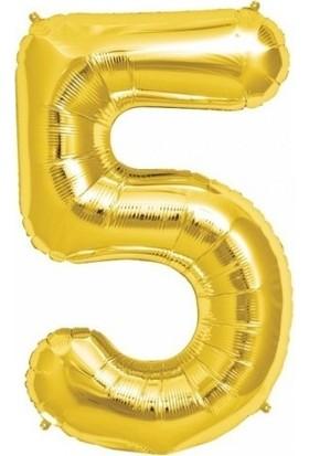 Pera Balon Parti 5 Rakamı Gold Folyo Balon 102 cm