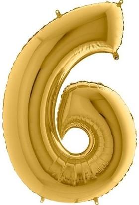 Pera Balon Parti 6 Rakamı Gold Folyo Balon 102 cm