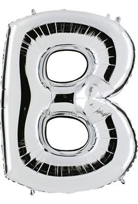 Pera Balon Parti B Harf Gümüş Folyo Balon 102 cm
