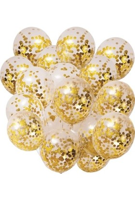 Pera Balon Gold Konfetili Şeffaf Balon 10'lu