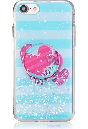 Mor Apple iPhone 7 Kılıf Pop Soketli Desenli Silikon Vale