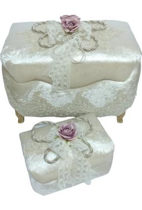 Prenses Çeyiz Store Kordonlu Model Köşeli Çeyiz Sandığı Vizon