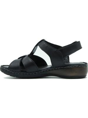 Venüs Hakiki Deri Kadın Sandalet 2098027Y Siyah