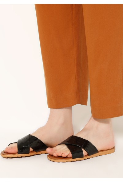 Just Shoes Terlik Siyah Kroko