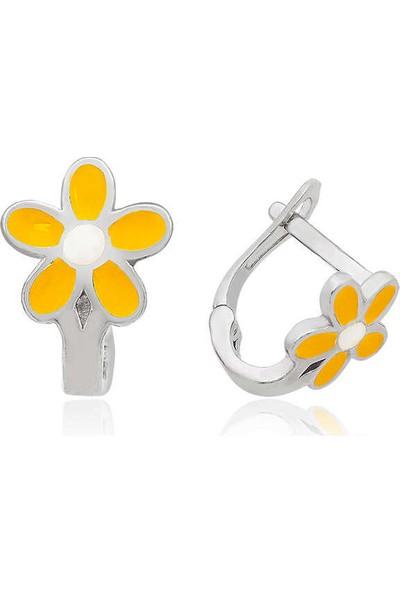 Armagano Gümüş Sarı Çiçek Çocuk Küpesi