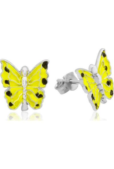 Armagano Gümüş Sarı Kelebek Çocuk Küpesi