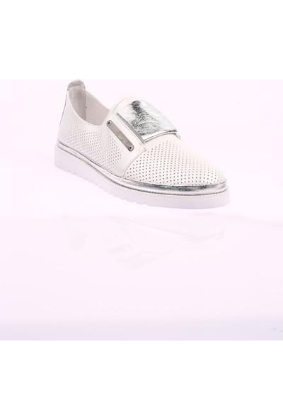 Mammamia D20YA-880 Günlük Kadın Ayakkabısı Deri Beyaz Delikli
