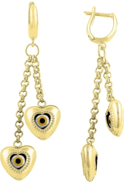 Silverella Gümüş 925 Ayar Gözlü Kalp Küpe