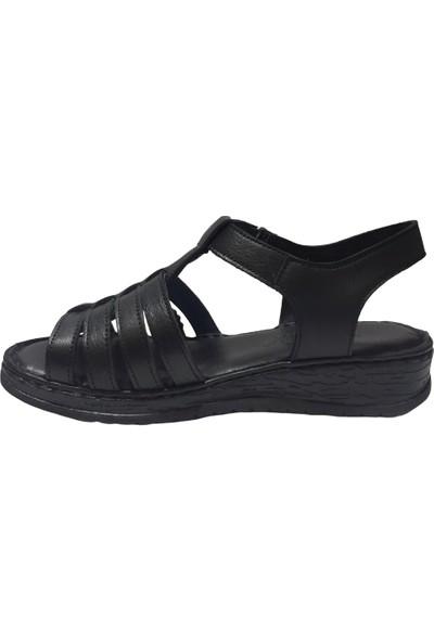 Pandora Moda YN14 Deri Kadın Sandalet Siyah