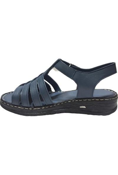 Pandora Moda YN14 Deri Kadın Sandalet Kot Mavi