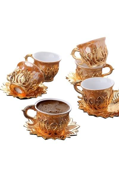 Busem Ahsen Turuncu Lale Desenli 6 Kişilik Türk Kahve Seti 18 Parça