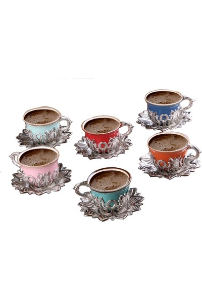 Busem Ahsen Lale Desenli Renkli 6 Kişilik Türk Kahve Seti Gümüş Renkli
