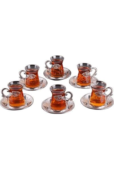 Busem Sefa Irem Çay Seti Işlemeli 6 Kişilik 18 Parça Gümüş Renkli