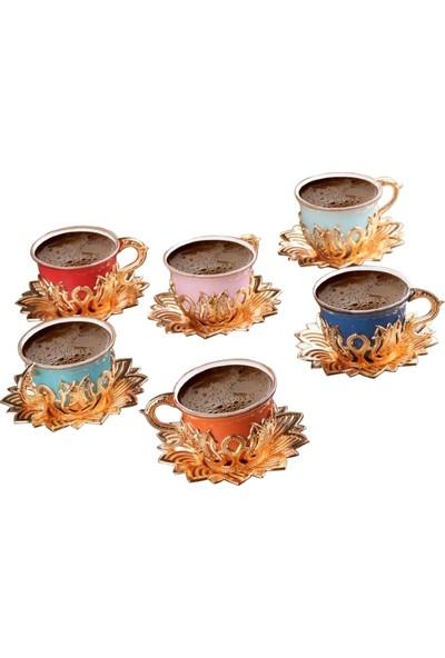 Busem Ahsen Lale Desenli Renkli 6 Kişilik Türk Kahve Seti