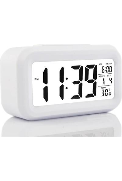 Sepetdoluyor Işık Sensörlü Termometreli Alarmlı Dijital Masa Saati Beyaz