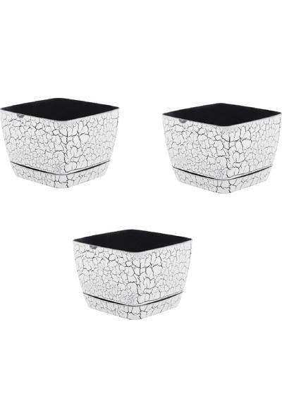 Favilla Kare Mermer Görünümlü Saksı Beyaz Tabaklı 18 cm 3'lü