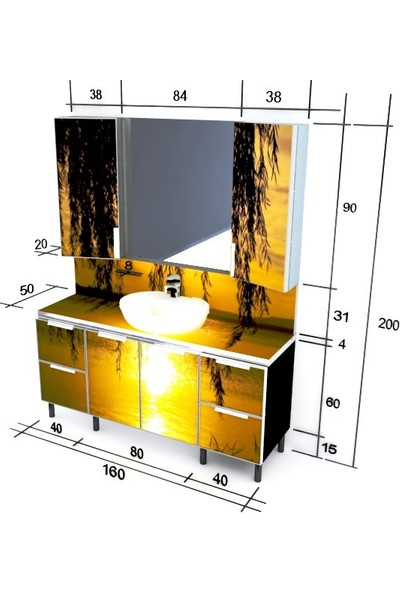 Artila Işıklı Kapaklı Gölde Yansıma Seramik Çanak Lavabolu Tezgah + Ara Panolu Banyo Dolabı 160 x 200 cm