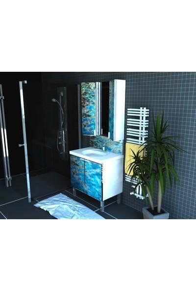 Artila Işıklı Kapaklı Su Yüzeyi Seramik Lavabolu Aynalı Banyo Dolabı 80 x 200 cm