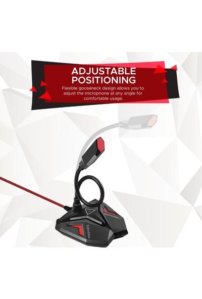 Promate Streamer Mikrofon Oyun & Oyuncu Tip USB LED Işıklı Kayıt İçin Uygun