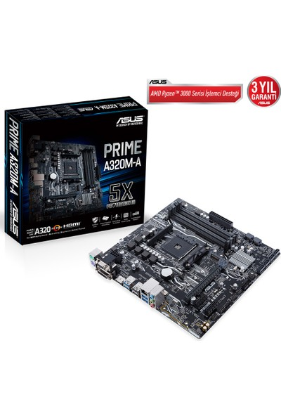 Asus Prime A320M-A Motherboard DDR4 3200MHz Mikro-ATX Socket AM4 Anakart