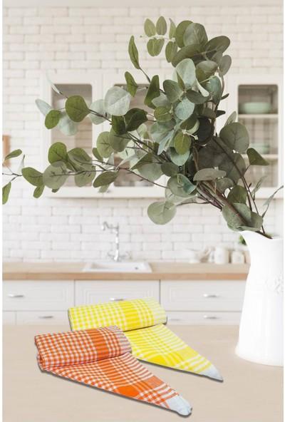 Lux Home Pöti Kareli 2'li Mutfak Kurulama Bezi 45 x 65 cm Turuncu - Sarı