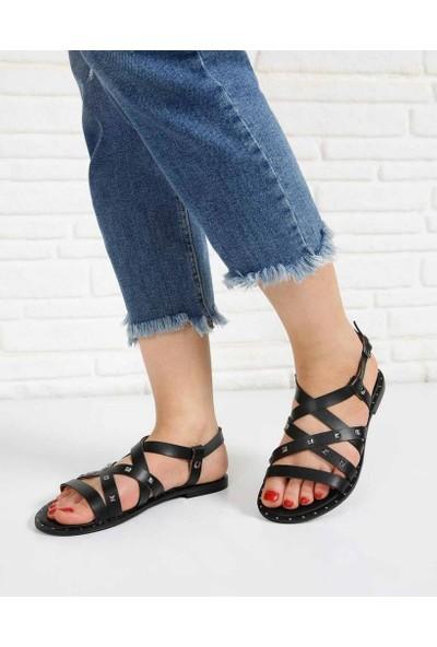 Alfornia Siyah Cilt Troklu Pin Taban Kadın Sandalet