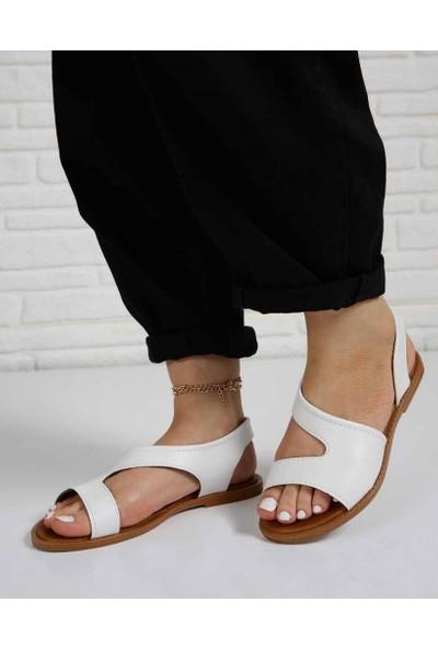 Bourne Beyaz Cilt Açık Kesim Jurdan Taban Kadın Sandalet