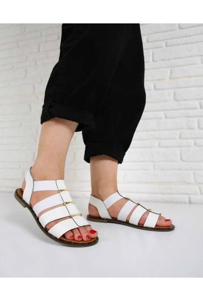 Bronwen Beyaz Cilt Lastikli Pin Taban Kadın Sandalet