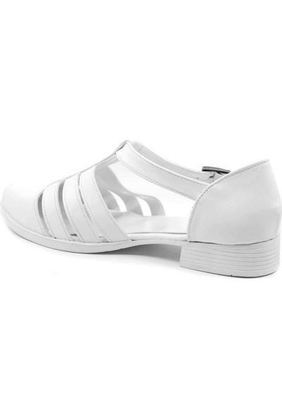 Carmine Beyaz Cilt Köprü Kemer Kadın Ayakkabı