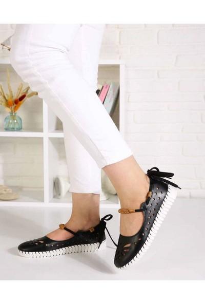 Clarity Siyah Cilt Lazer Kesim Sarma Bağcık Kadın Ayakkabı