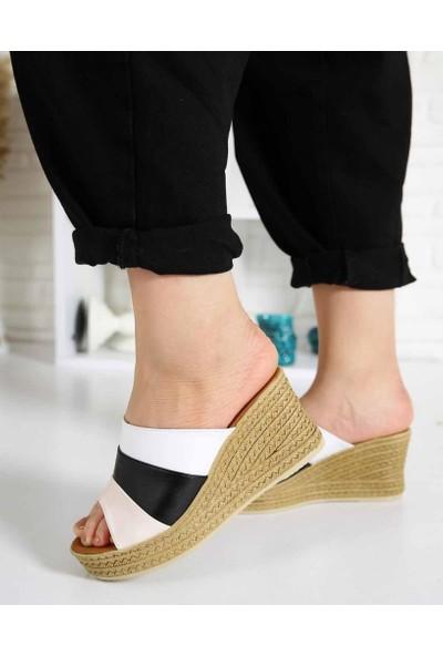 Corvix Beyaz Hasır Desen Dolgu Topuk Kadın Terlik