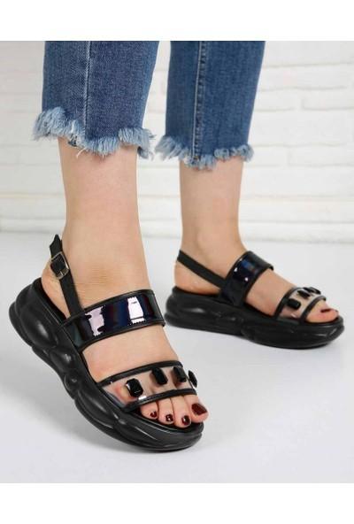 Crofton Siyah Hologram Şeffaf Taşlı Kemer Poli Taban Kadın Sandalet