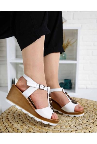 Cydney Beyaz Cilt Köprü Kemer Dolgu Topuk Kadın Sandalet