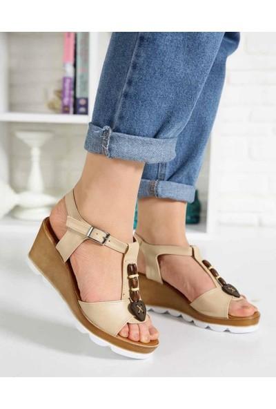 Cydney Ten Cilt Köprü Kemer Dolgu Topuk Kadın Sandalet