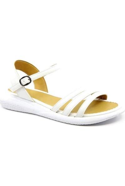Destiny Beyaz Cilt Bilek Bağlı Poli Taban Kadın Sandalet